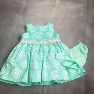 Teal dress w/ diaper cover 9m